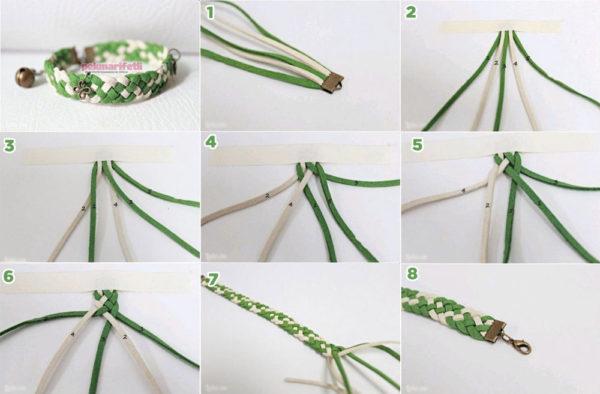 5 parça örgülü bileklik yapımı