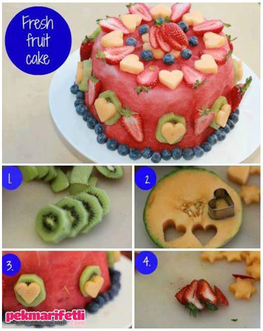 Karpuzlu meyve pastası yapımı