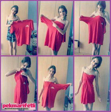 Tişörtten elbise yapımı