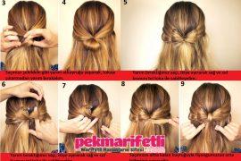 Yarım fiyonk saç modeli resimli anlatımlı