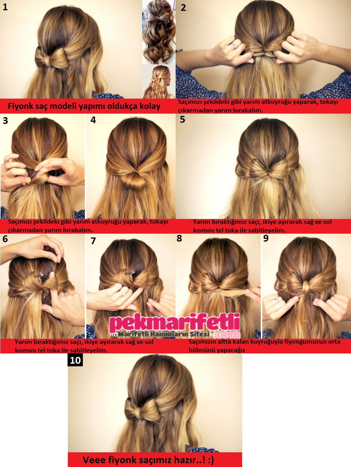 Yapımı Kolay Kurdele ile Saç Modelleri