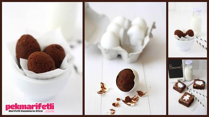 Yumurta kabuğunda browni kek yapımı ;)