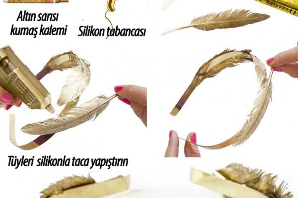 Altın sarısı, tüylü taç yapımı