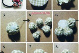 Artık kumaşlardan çiçek şeklinde toka yapımı