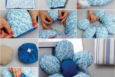 Atık kumaşlardan çiçek kırlent yapımı