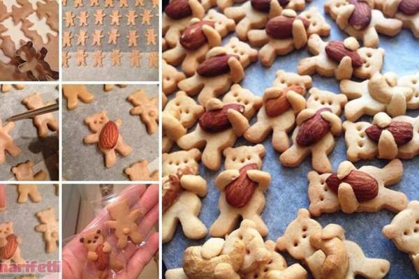 Bademleri kucaklayan ayıcık kurabiyeler :)