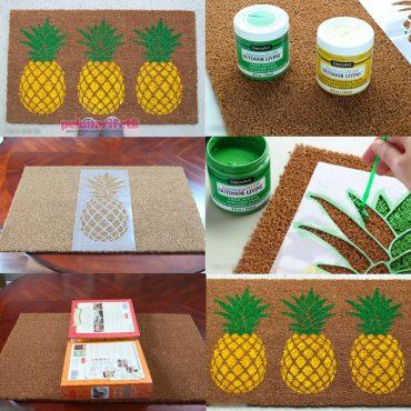 Boyama ile ananas desenli paspas yapımı