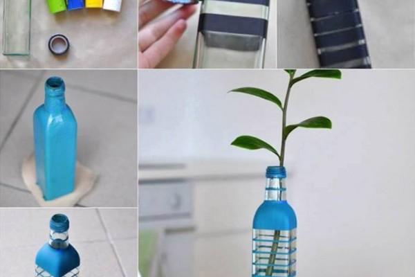 Cam şişeden dekoratif vazo yapımı