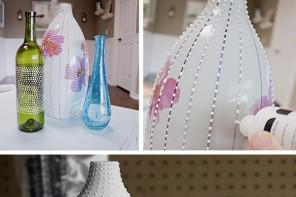 Cam şişelerden dekoratif vazo yapımı
