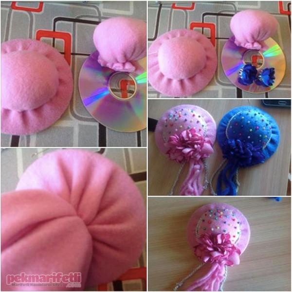 CD'den şapka görünümlü iğnelik yapımı