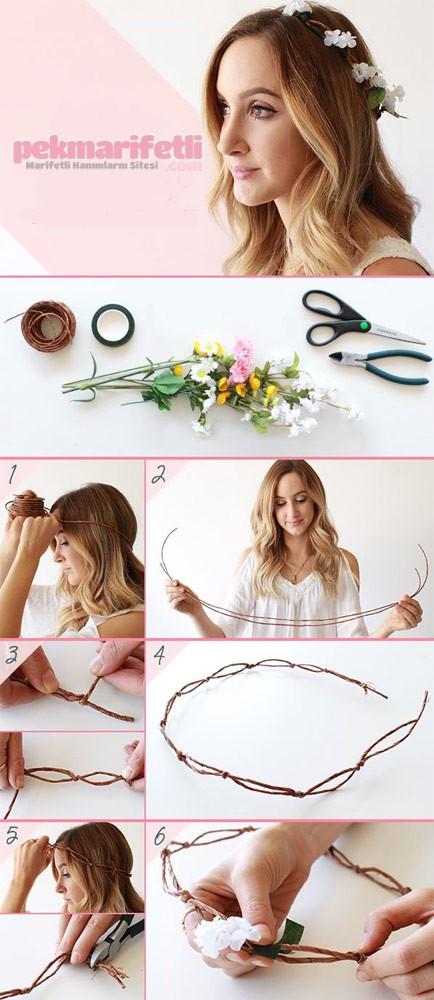 Çiçeklerle taç yapımı
