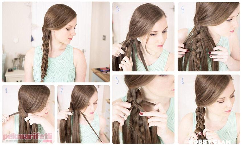 Örgü saç modellerinin en kolay yapѭlan örneklerini siz degerli.