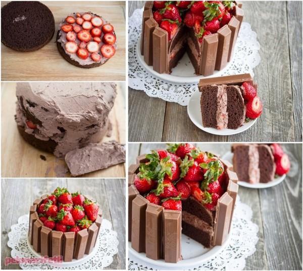 Çilekli kitkatlı pasta yapımı