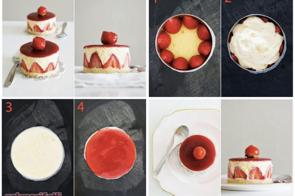 Çilekli mini pasta yapımı