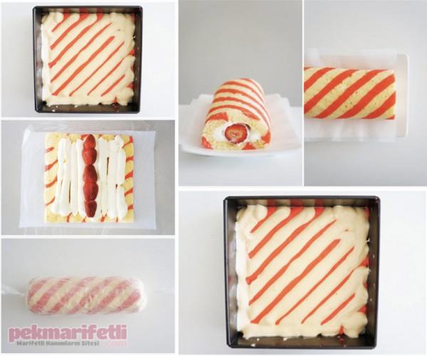 Çizgili desenli rulo pasta yapımı