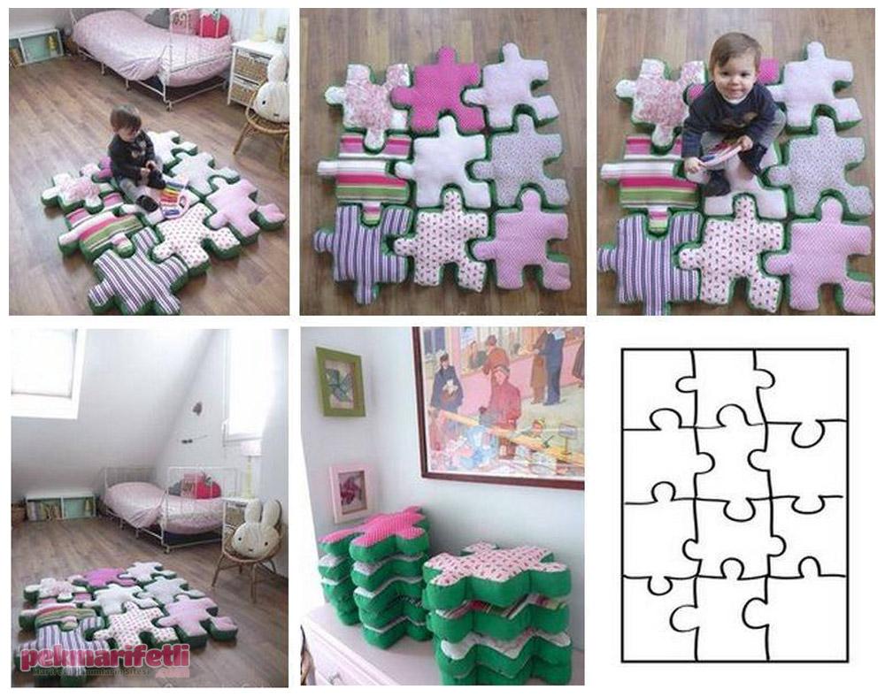 Çocuk odaları için yapboz şeklinde minderler