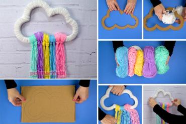 Çocuk odası için bulut şeklinde kapı süsü yapımı