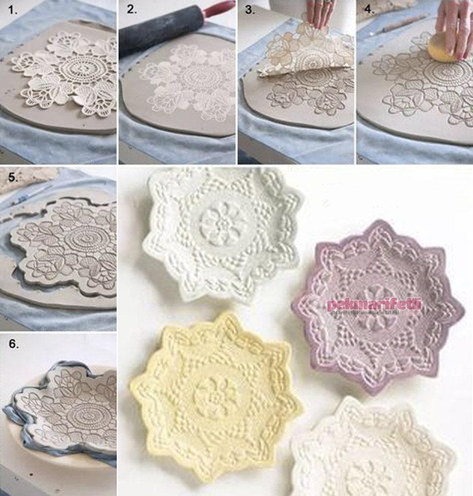 Dantel desenli dekoratif seramik tabak yapımı
