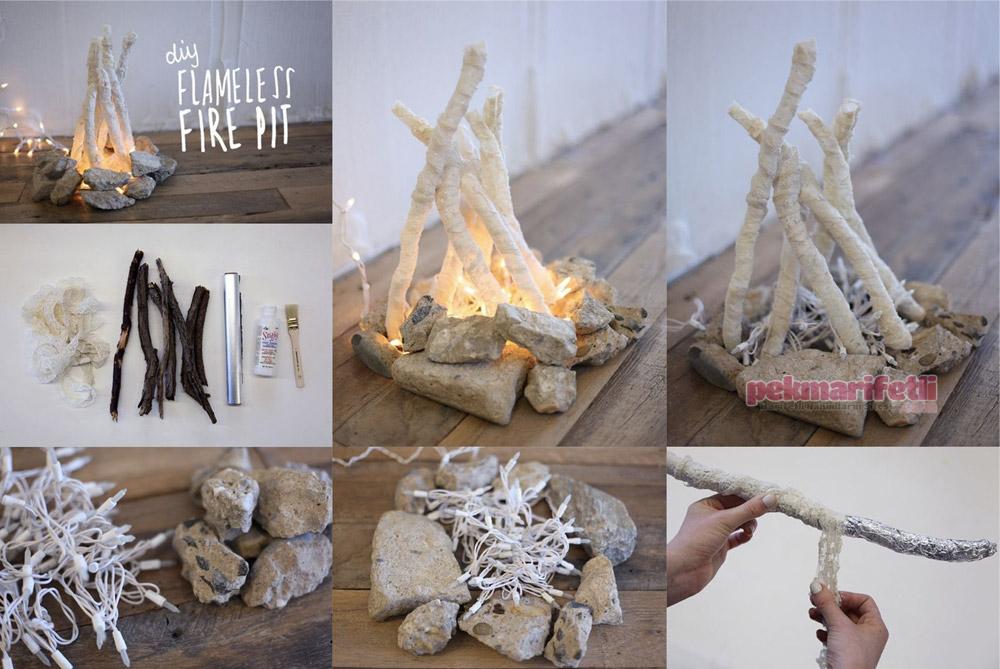 Dekoratif alevsiz şömine lamba yapımı