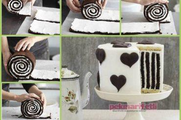 Dik çizgili kolay pasta yapımı
