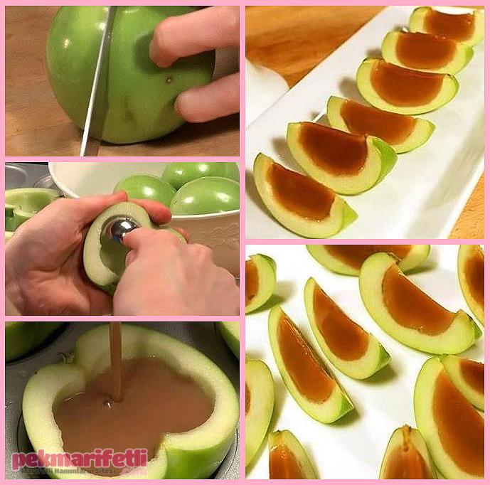Dolgulu elma dilimleri