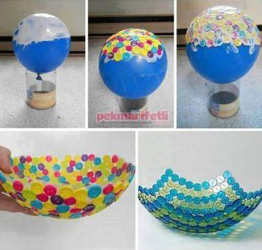 Düğmelerden dekoratif tabak yapımı