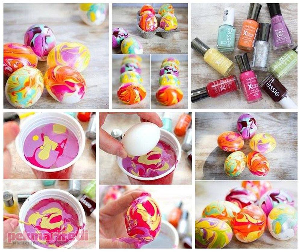Ebru desenli yumurtalarla eviniz renklensin