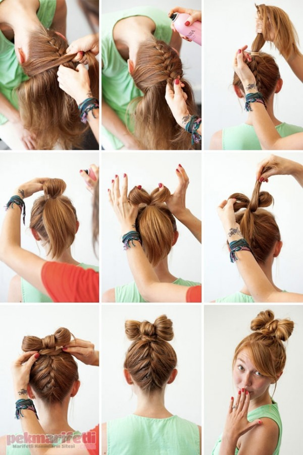 Ense örgülü fiyonk saç yapımı