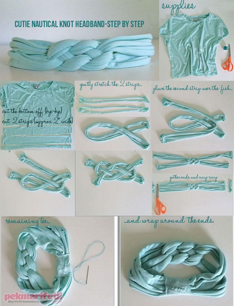 Eski tişörtten örgü bandana yapımı
