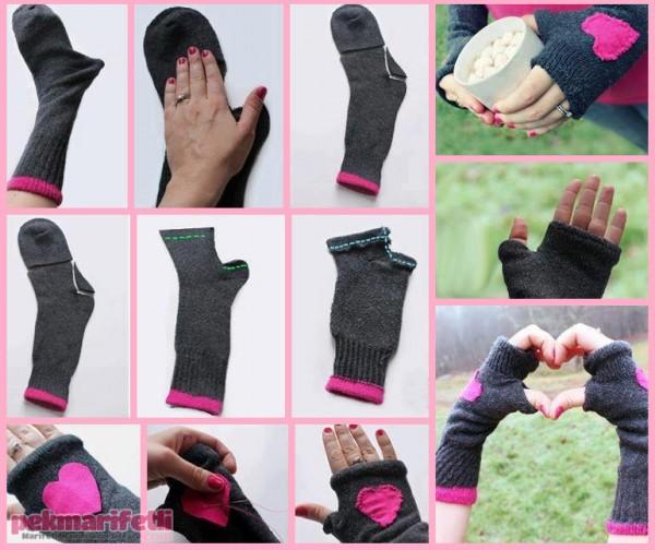 Eskiyen çoraptan eldiven yapımı