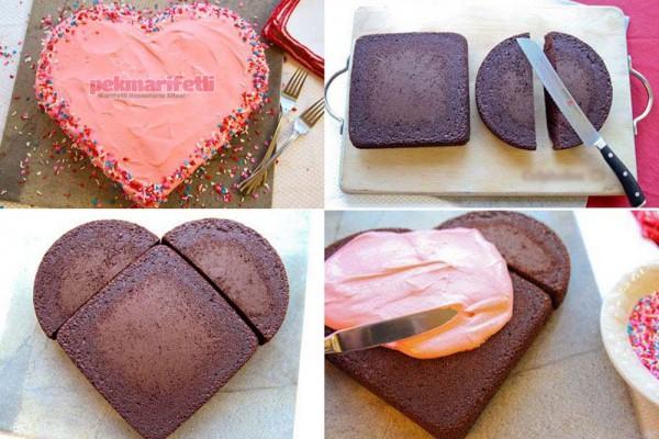 Evde kalp şeklinde pasta nasıl yapılır?