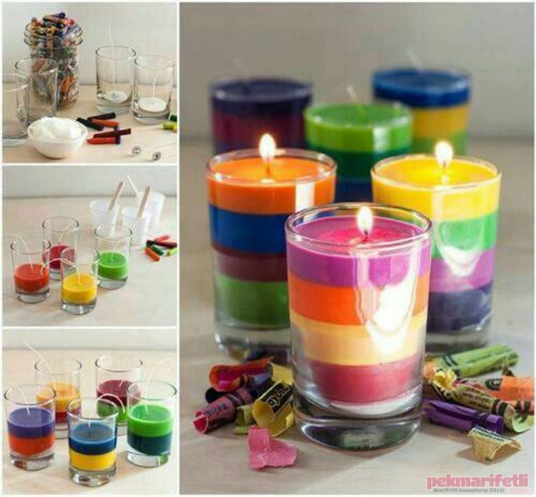 Evde rengarenk dekoratif mum yapımı