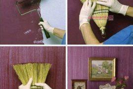 Evinizin duvarına süpürge ile farklılık katın