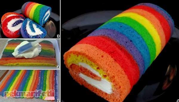 Gökkuşağı desenli rulo pasta yapımı