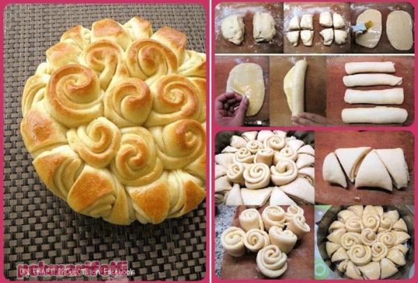Gül buketi ekmek yapımı