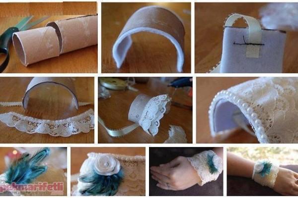 Havlu peçete rulosundan bileklik yapımı