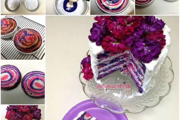 İçi rengarenk pasta yapımı