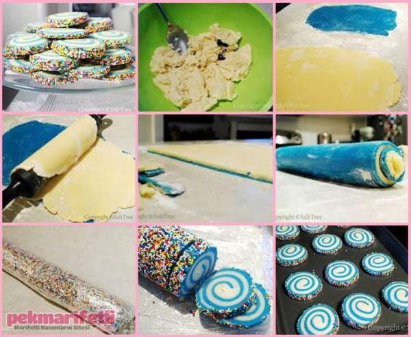 İki renkli rulo kurabiye yapımı
