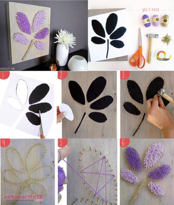 İplerle dekoratif tablo yapımı