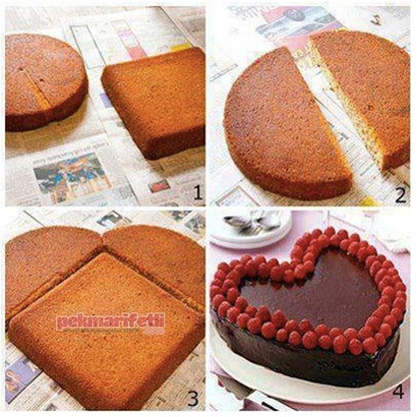 Kalıpsız kalp şeklinde kek nasıl yapılır?