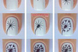 Karahindiba desenli tırnak süslemesi