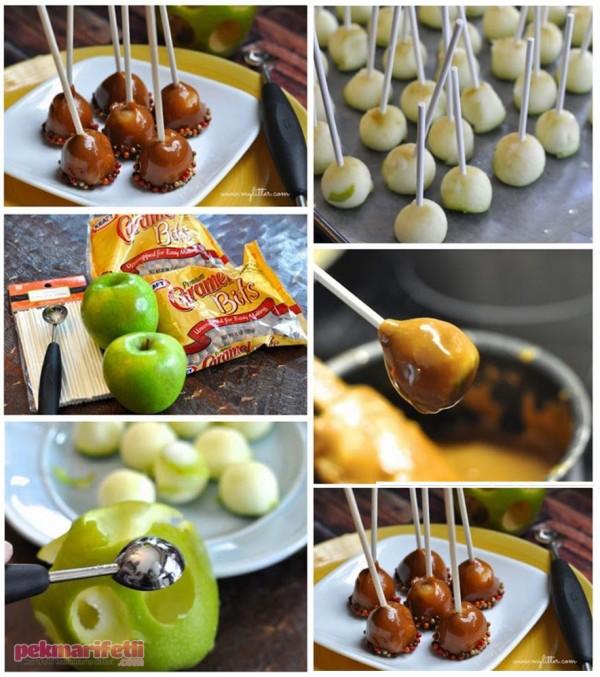 Karamelli elma topları yapımı