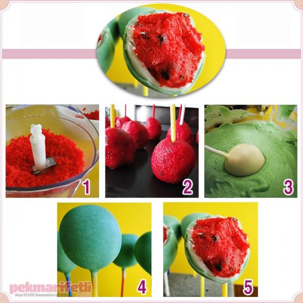 Karpuz görünümlü kek topları yapımı