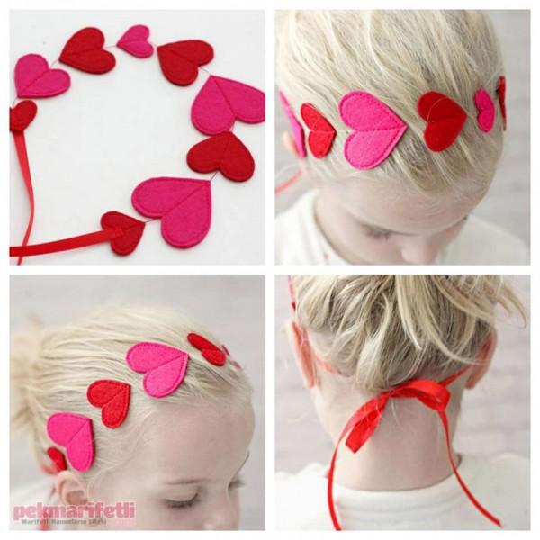 Keçeden kalpli saç bandı yapımı