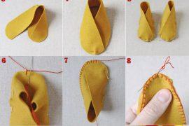 Keçeden kolay bebek patiği yapımı
