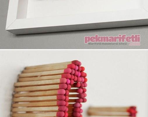 Kibritlerden dekoratif duvar süsü yapımı