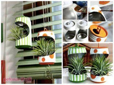 Konserve kutularından dekoratif saksı yapımı