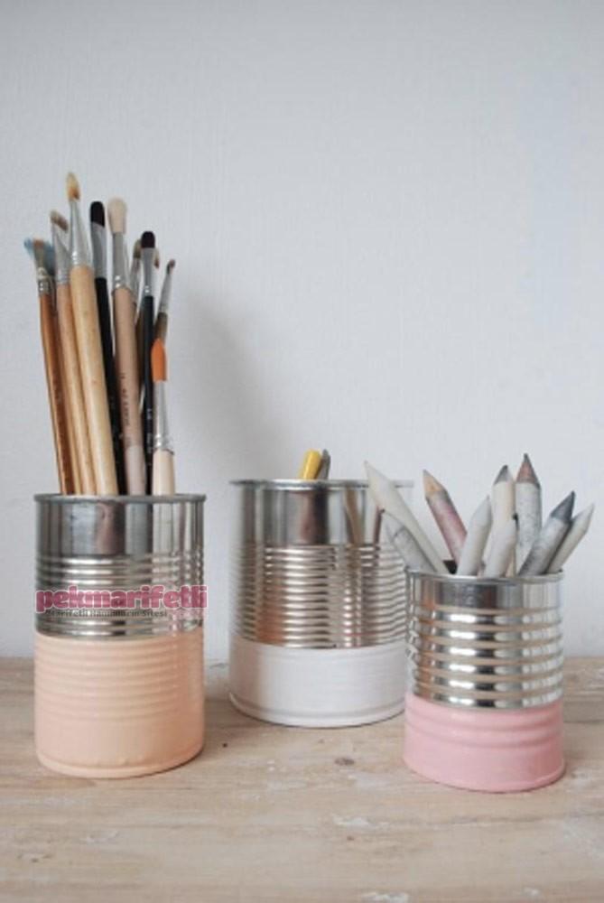 Konserve kutularından kalemlik yapımı