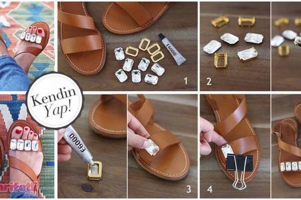 Küçük taşlarla sandaletinizi hareketlendirin