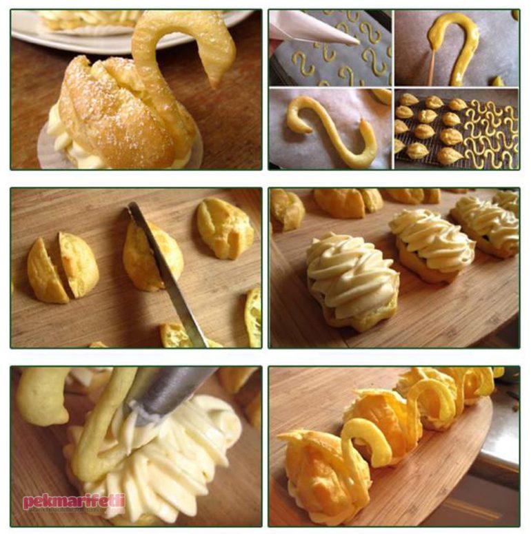 Kuğu şeklinde kurabiye yapımı